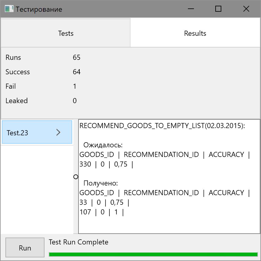 Результаты запуска тестов (Windows)