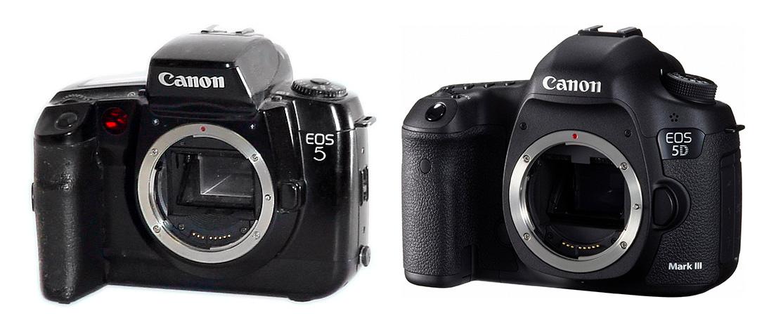 Comparison of two cameras Canon EOS 5 and Canon EOS 5D mark III