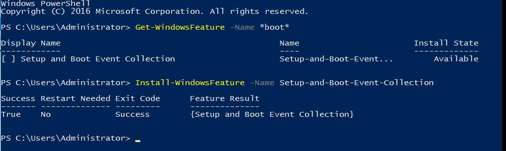 Сбор данных о загрузочных событиях Windows Server 2016