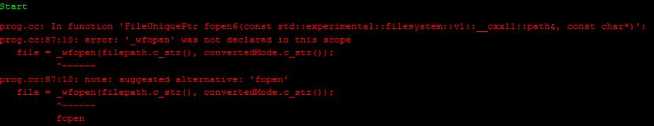 Скриншот ошибки компиляции
