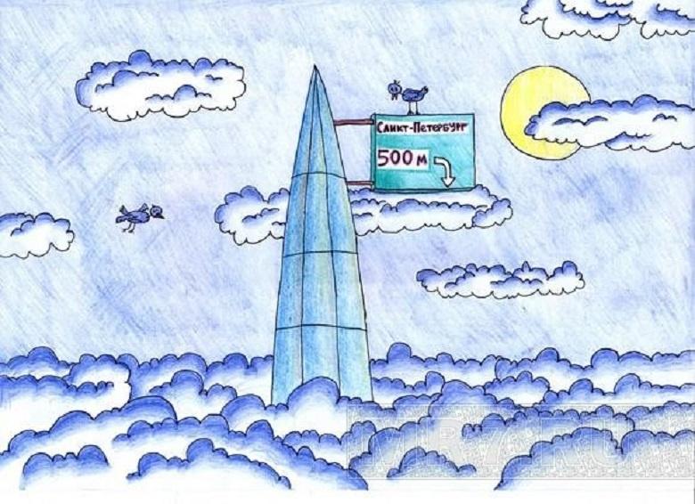 Птицы и башня Лахта Центра
