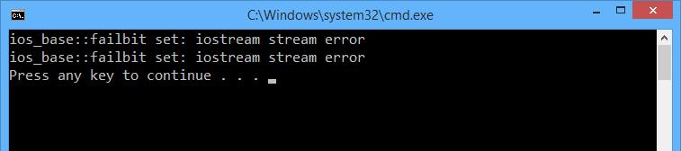 Скриншот ошибки fstream