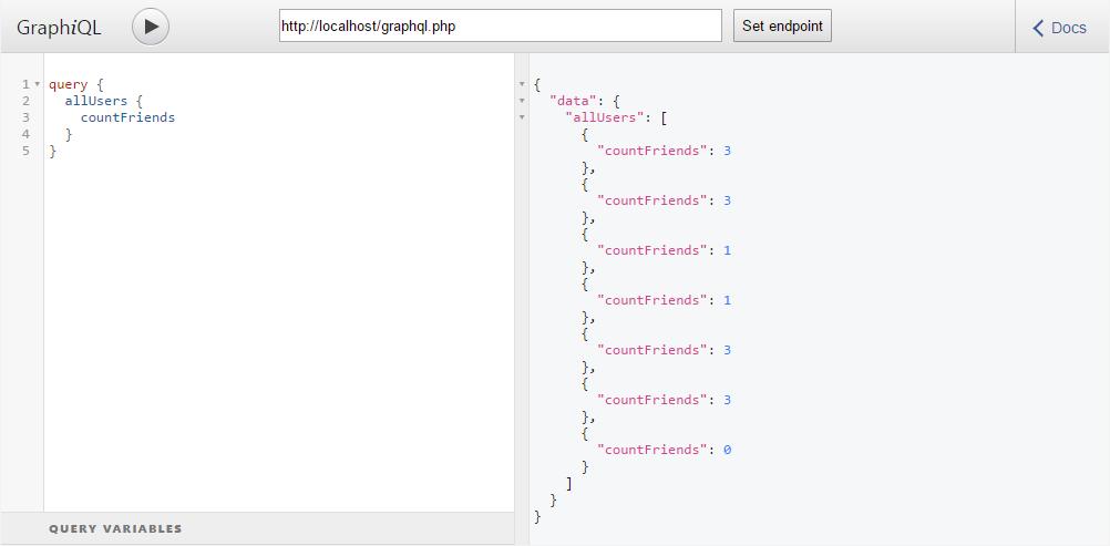 GraphQL: Запрос пользователей с количеством друзей