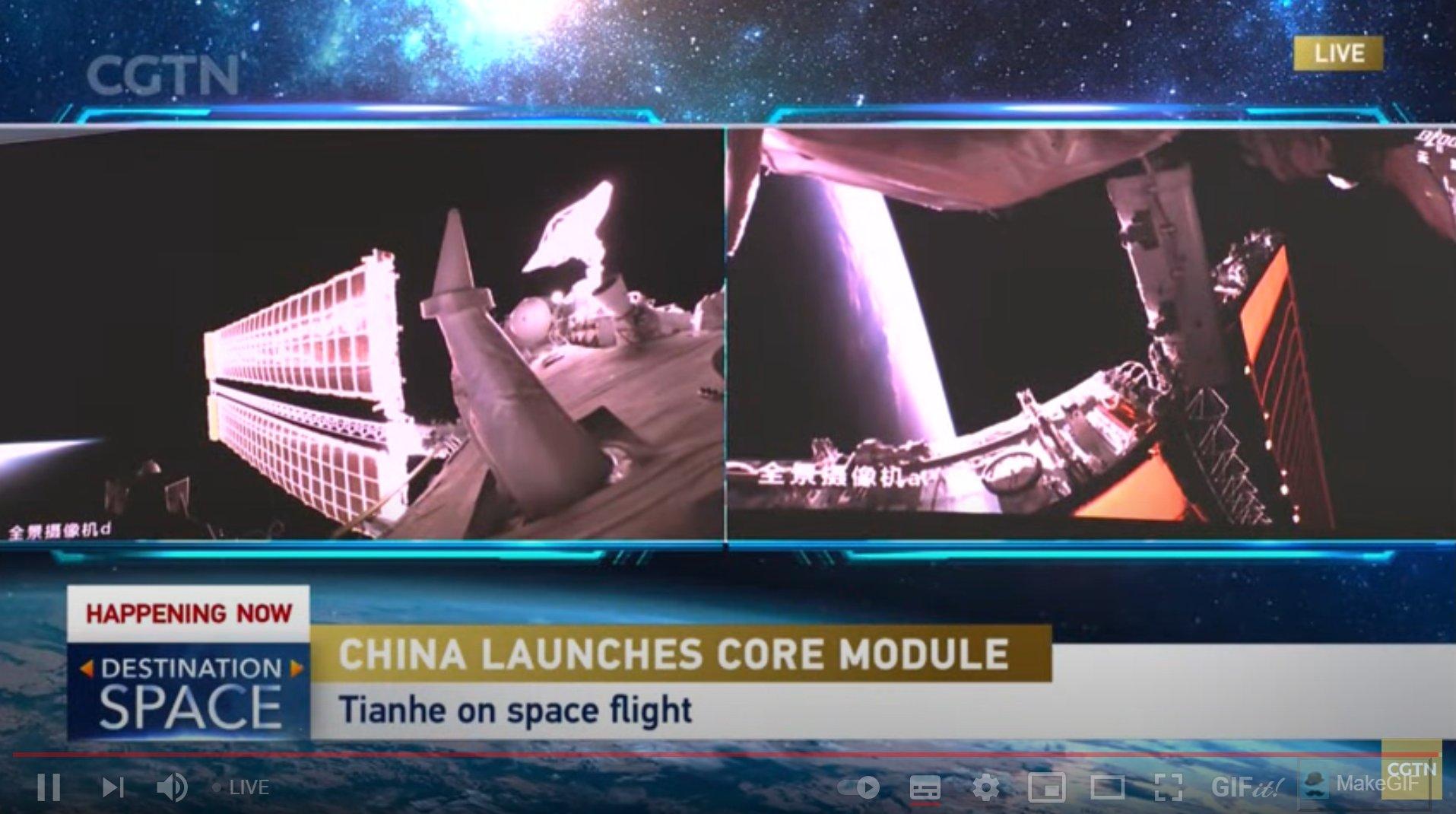 Китай успешно запустил базовый модуль Тяньхэ для своей орбитальной станции