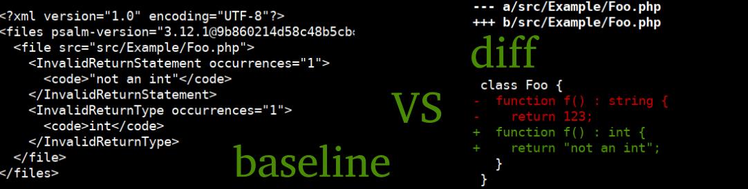 Статический анализ baseline файлы vs diff