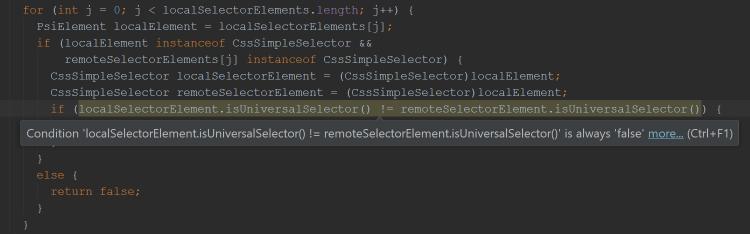 localSelectorElement = (CssSimpleSelector)localElement;remoteSelectorElement = (CssSimpleSelector)localSelectorElement;if(localSelectorElement.isUniversalSelector() != remoteSelectorElement.isUniversalSelector())