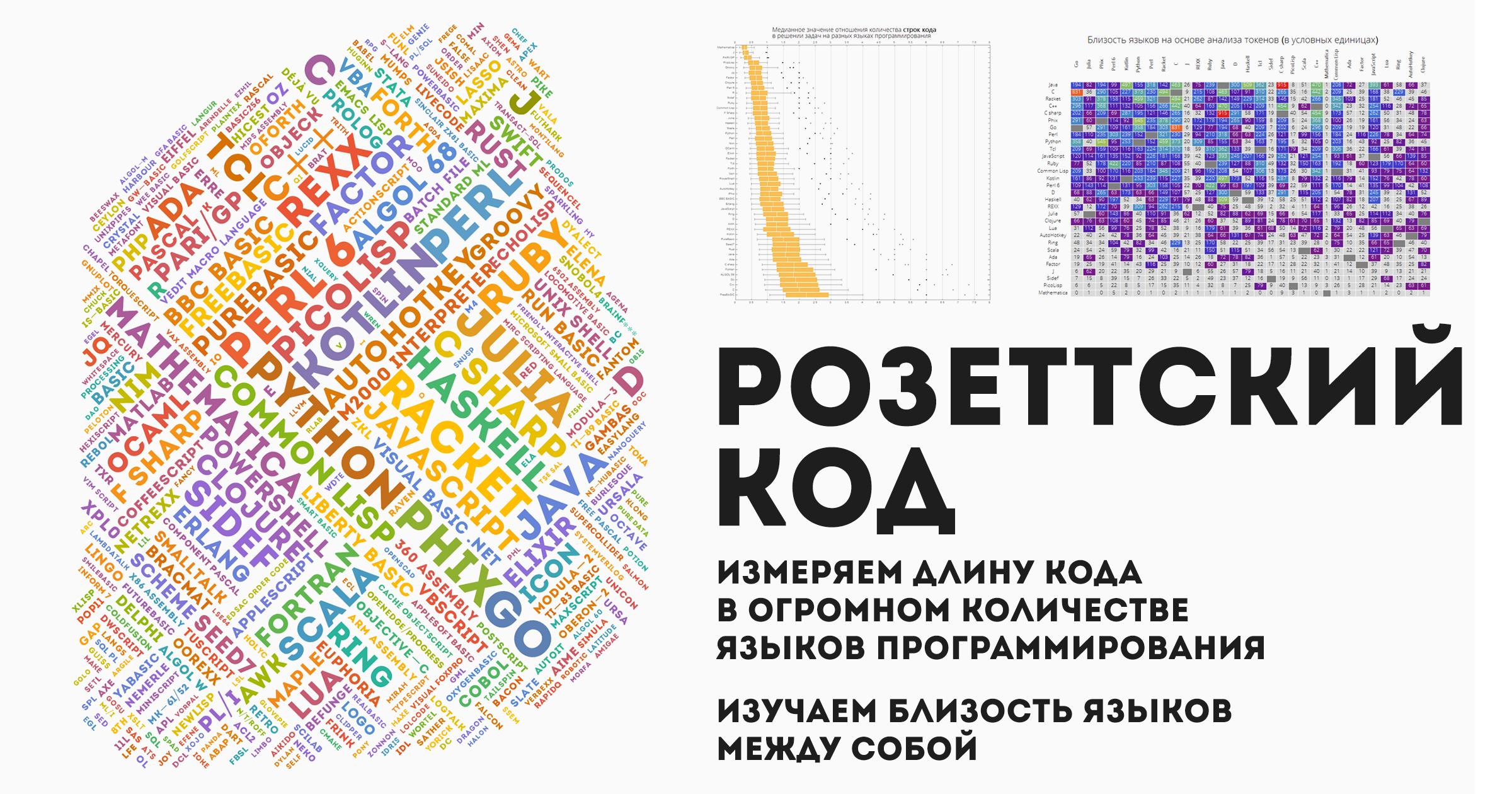 Розеттский код: измеряем длину кода в огромном количестве языков программирования, изучаем близость языков между собой