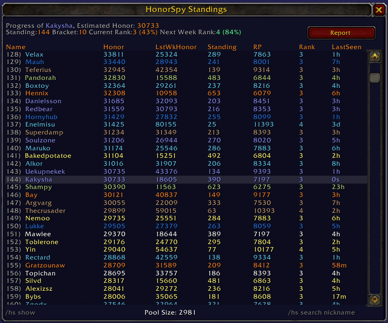 HonorSpy Screenshot