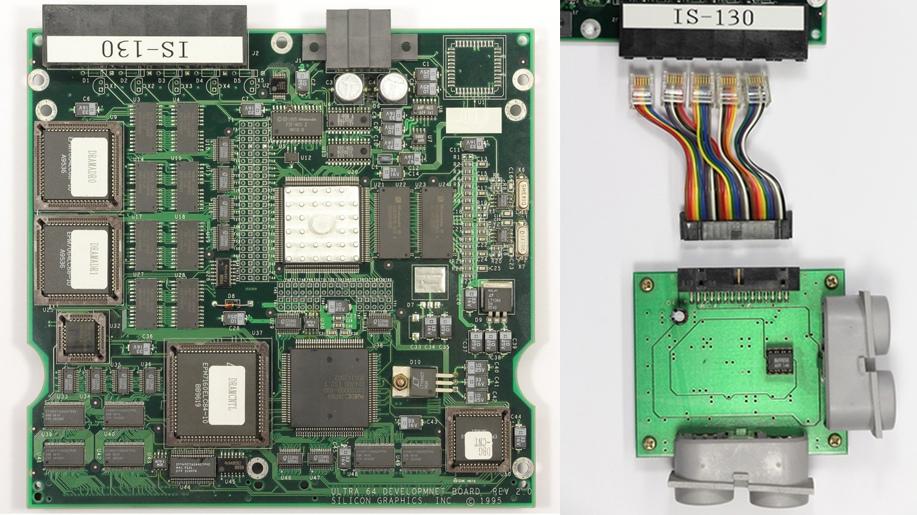 Ultra 64 development board (слева). Переходник для подключения геймпадов (справа)