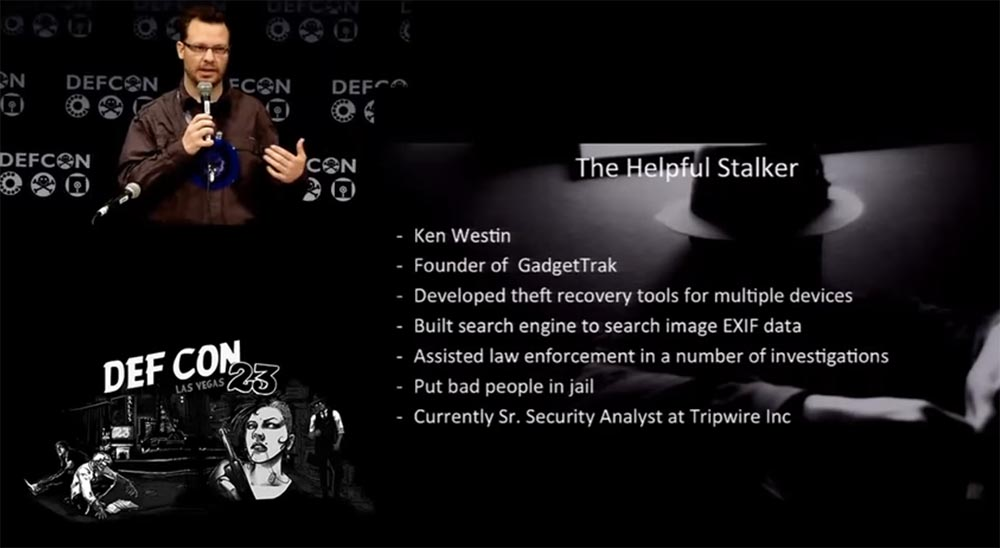 "DEFCON 23. ""Recognition of a professional cyber-stalker"". Ken Westin"