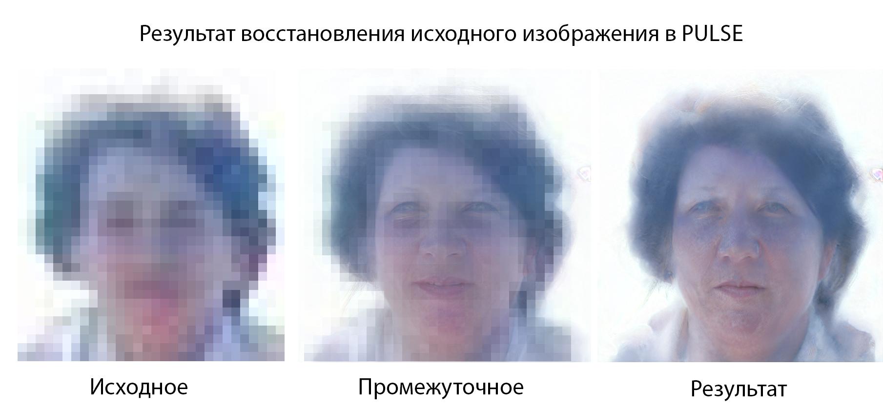 Результат восстановления исходного изображение в PULSE