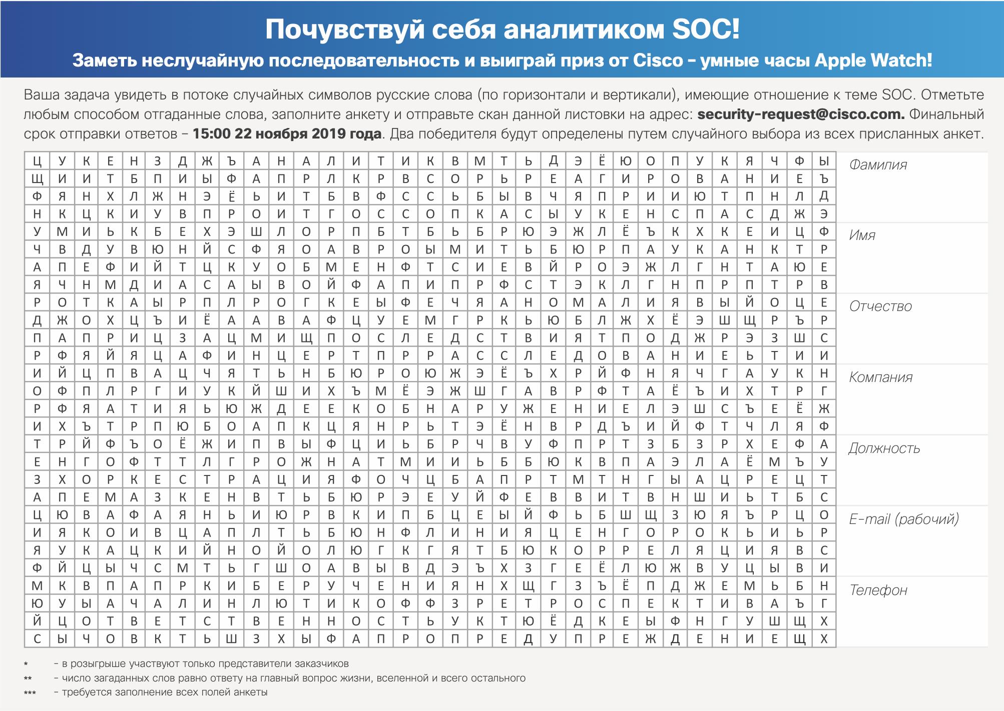 Кроссворд «Почувствуй себя аналитиком SOC»