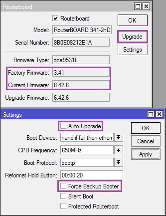 Mikrotik: reset settings, backups and DualBoot