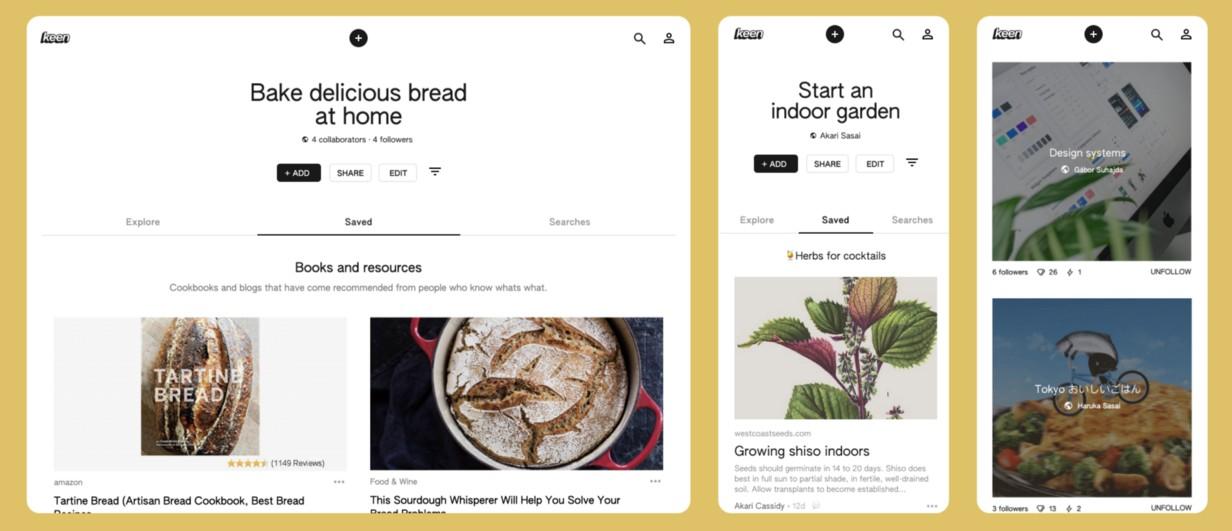Новый эксперимент Google — Keen, клон Pinterest на машинном обучении