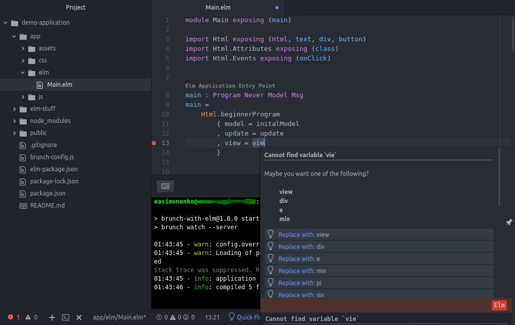 Код на Elm в Atom с ошибкой