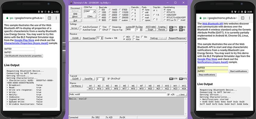 Получение информации о характеристике и данных, отправленных из терминала