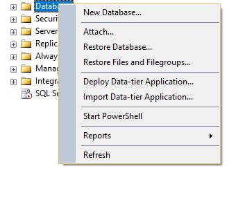 создание базы данных в sql management studio
