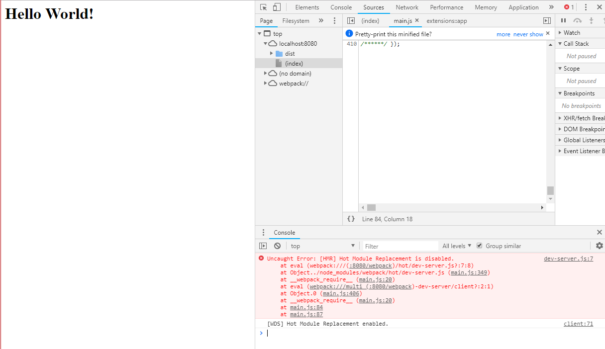 Webpack-dev-server does not update the page, why? - bug-code