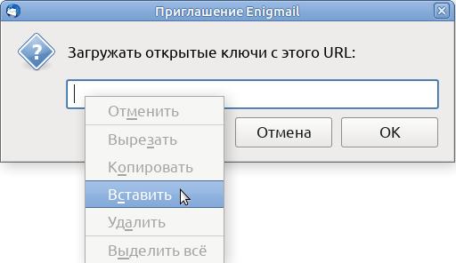 Enigmail invitation - Download public keys from this URL - (context menu) - Insert