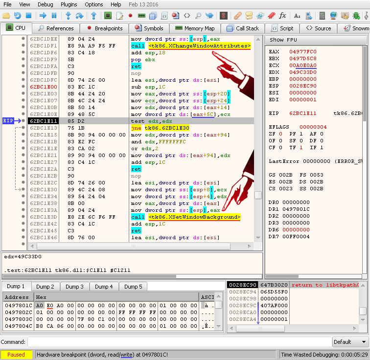 cpu – hardware breakpoint 0x0497801C