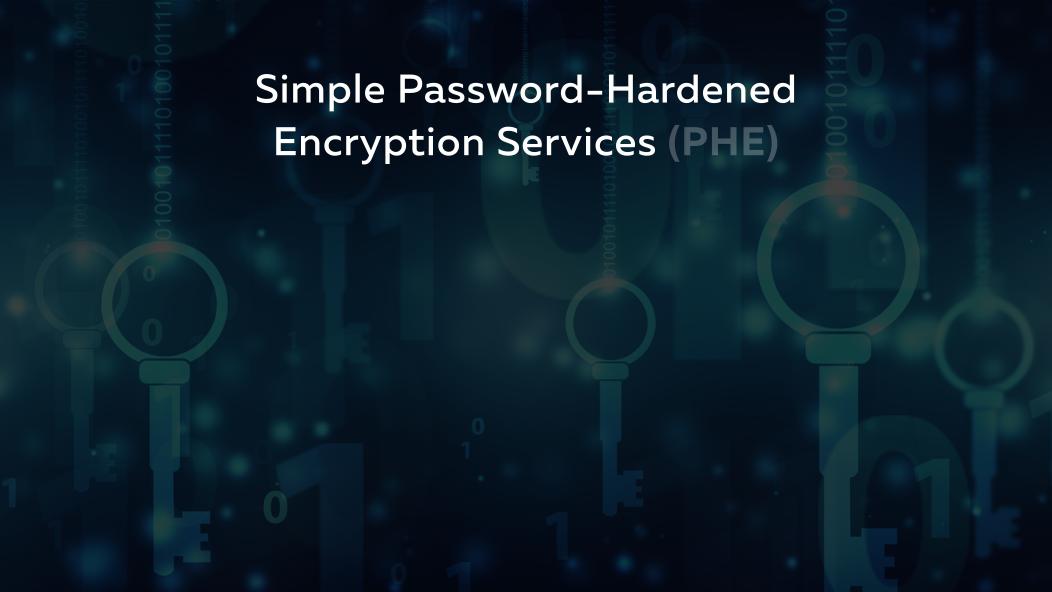 Slide 37.1.  Simple Password-Hardened Encryption Services (PHE)