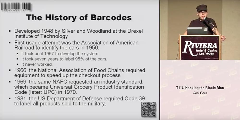 """Conference DEFCON 16. """"Games with bar codes."""" Felix Lindner, head of Recurity Labs"""