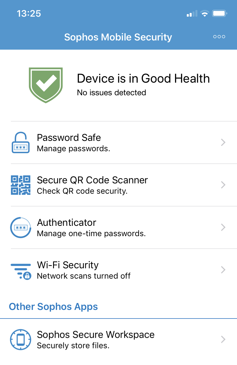 Sophos Mobile Security for iOS dashboard