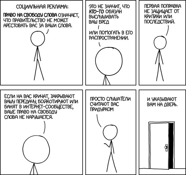 Право на свободу слова означает, что правительство не может арестовать вас за ваши слова.