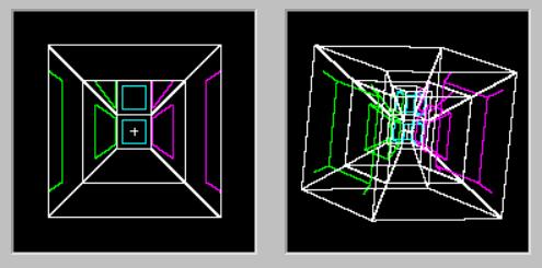 Слева — проекция 3D коридора, справа — 4D