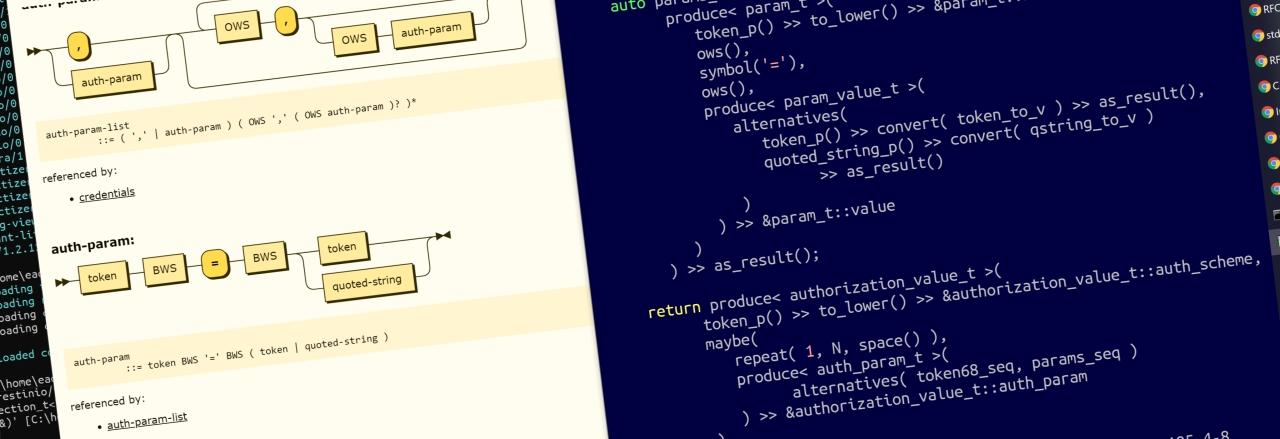 Сколько кода на C++ нужно написать для разбора HTTP-заголовка Authorization с помощью easy_parser из RESTinio?