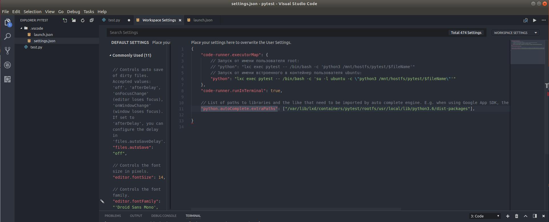 Запуск/отладка Python скриптов в контейнерах LXC/LXD из под