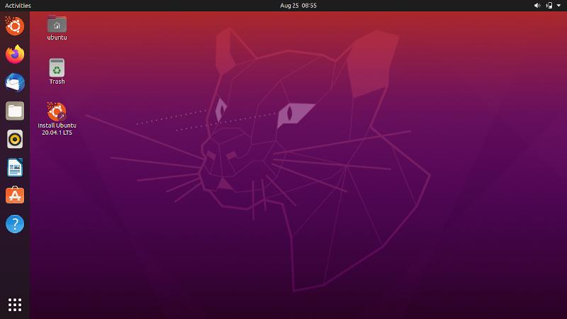 Рабочий стол Ubuntu 20.04 сразу после загрузки в live-режиме