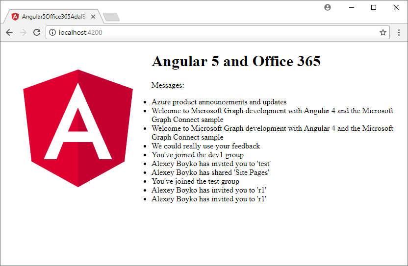 angular5 office 365 adal js