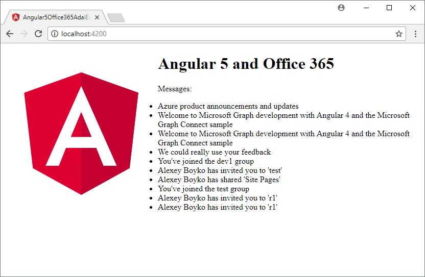 Office 365. Пример работы с Microsoft Graph API в Angular5 с помощью ADAL JS. ADAL JS vs MSAL JS