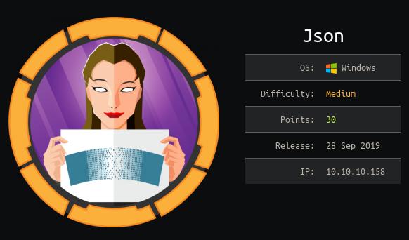 Hack The Box. Прохождение JSON. Уязвимость в Json.Net и LPE через SeImpersonatePrivilege