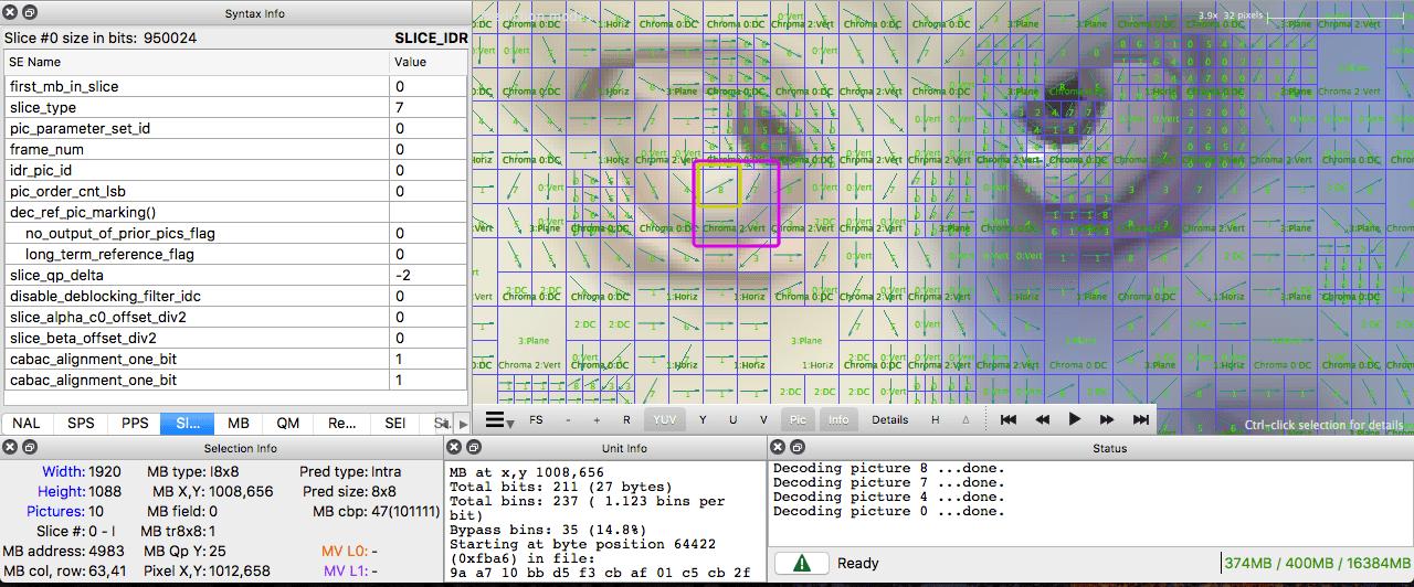 интра-прогнозирование Intel Video Pro анализатор