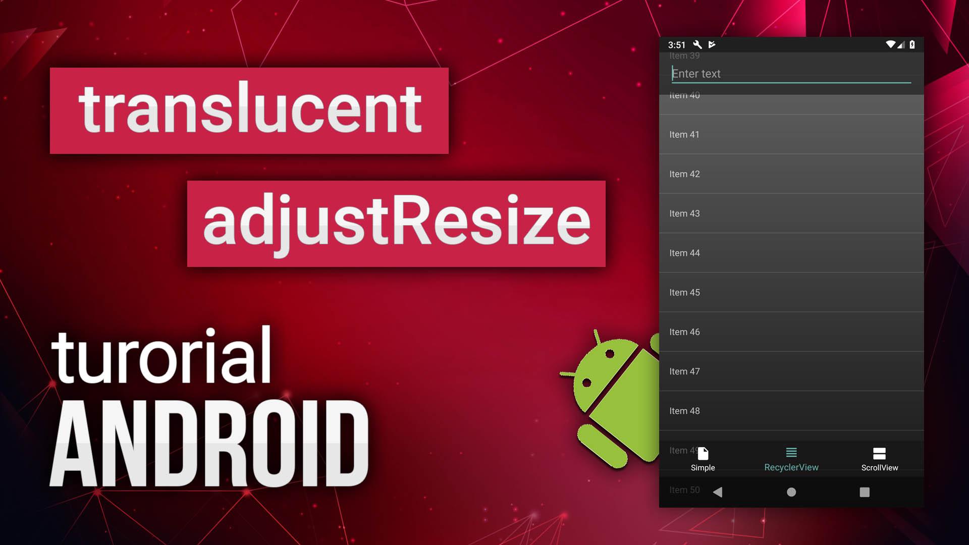 Translucent на андроид и adjustResize