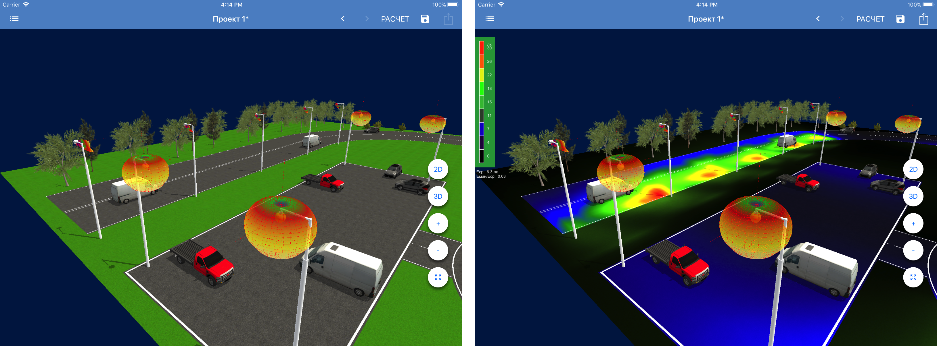 Using Unity3D in a native iOS /Android application for modeling the lighting of open spaces