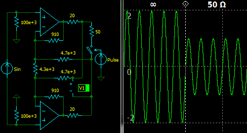 'Circuit Calculator', Differential Active Termination Driver, Unloaded Gain = 2, Loaded Gain = 1, Zout = 50 Ohm