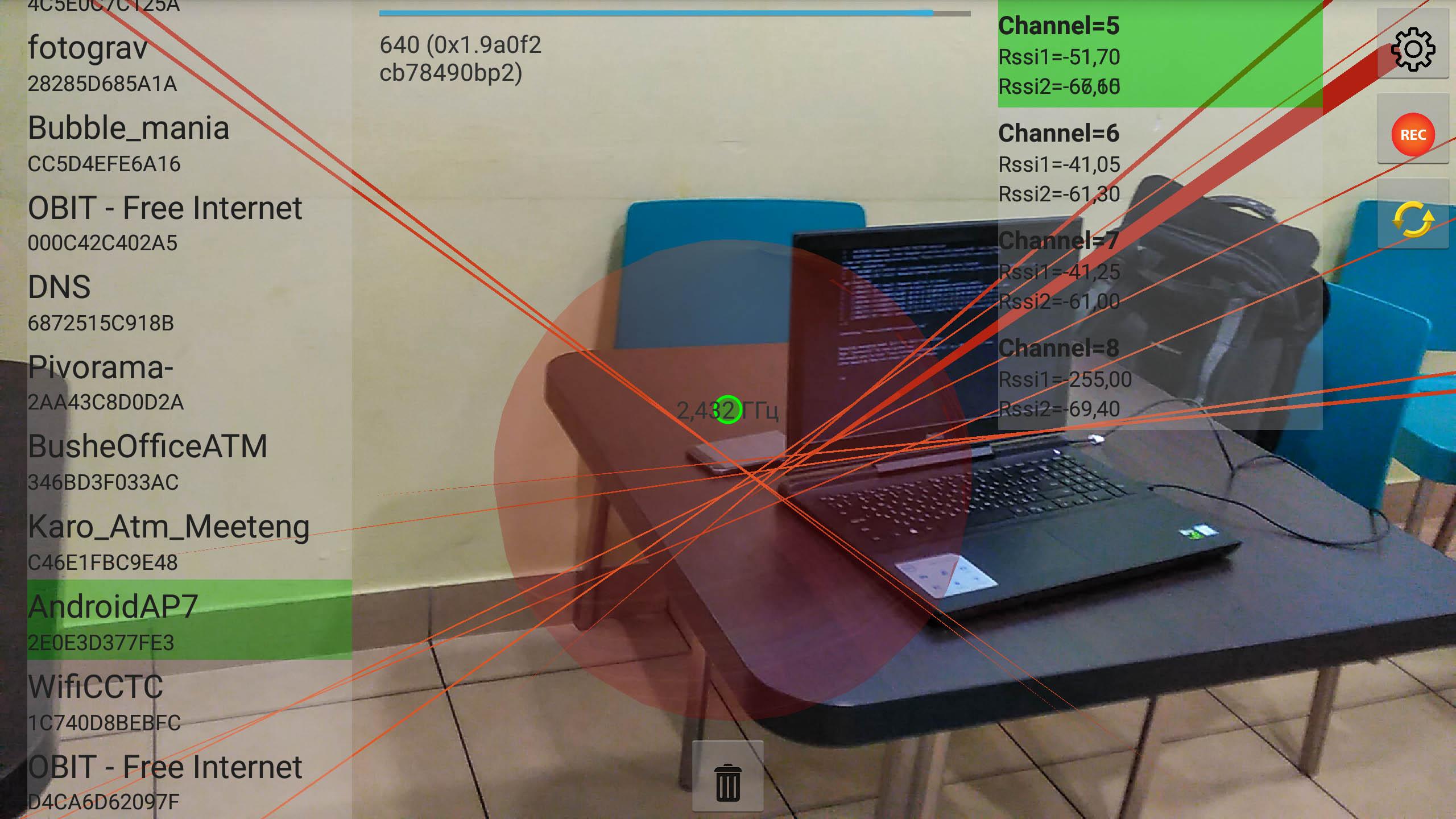 Местоопределение Wi-FI источников в AR и котелок