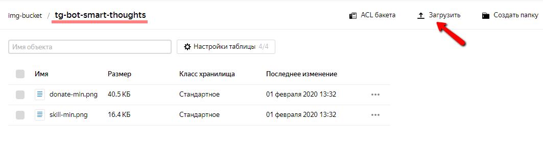 Загрузка файла в папку в бакете