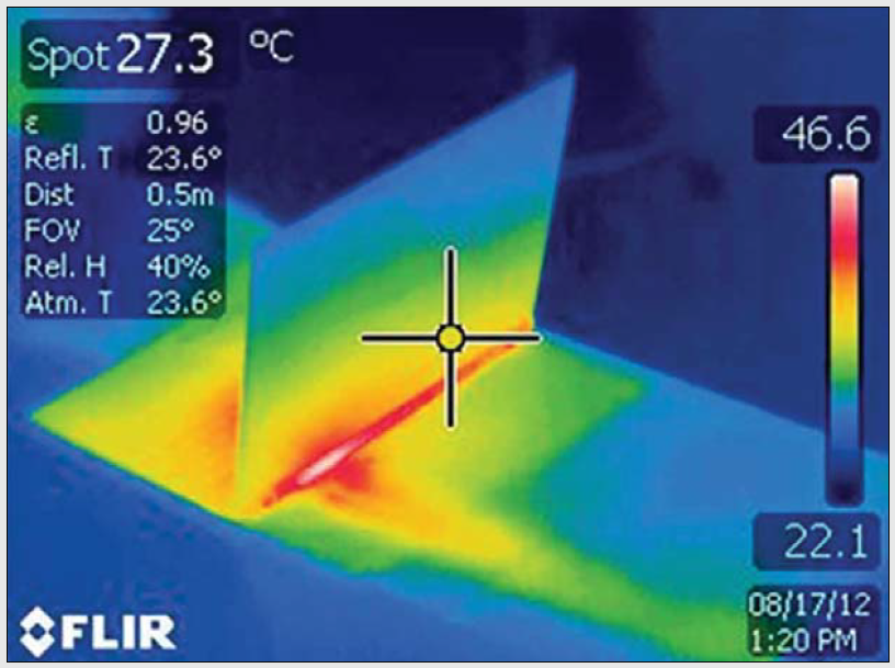 Термограмма ультрабука, охлаждаемого с помощью устройства Silent Air Cooling