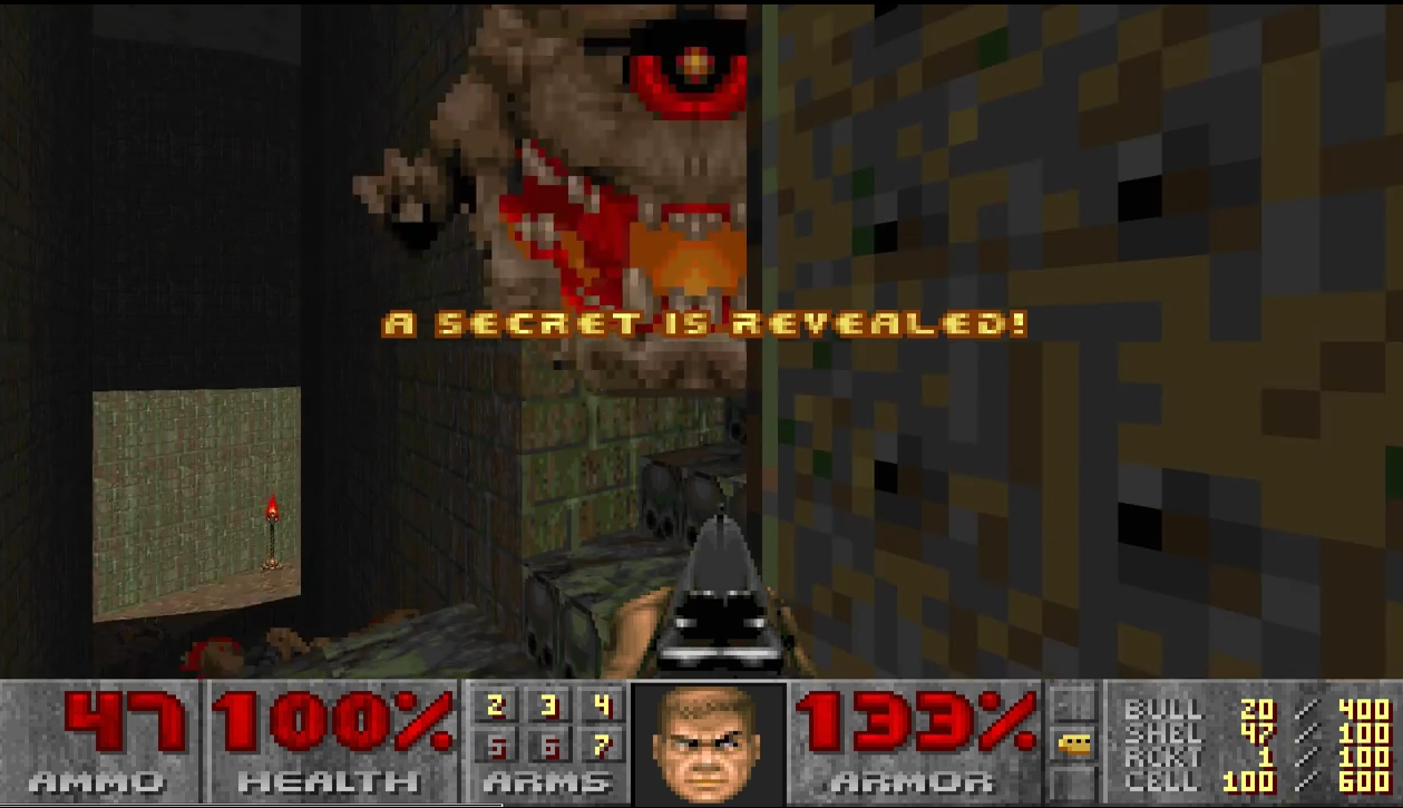 Doom II: Hell on Earth, id Software. Secret No. 4 on Map 15 (Industrial Zone) is opened in the usual game mode
