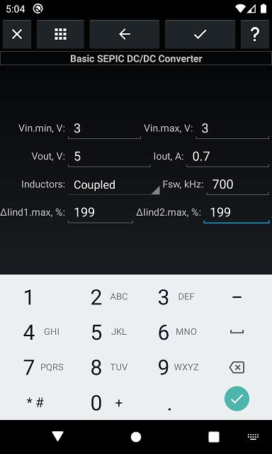 SEPIC, input parameters