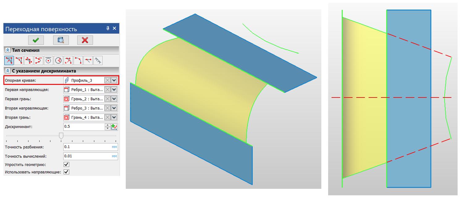 Рисунок 1. Поверхность конического сечения по изогнутой опорной кривой