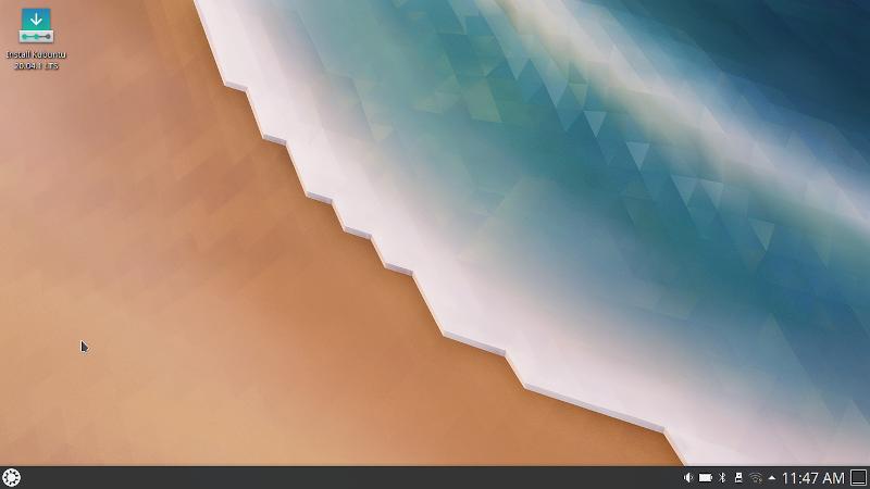 Рабочий стол Kubuntu 20.04 сразу после загрузки в live-режиме