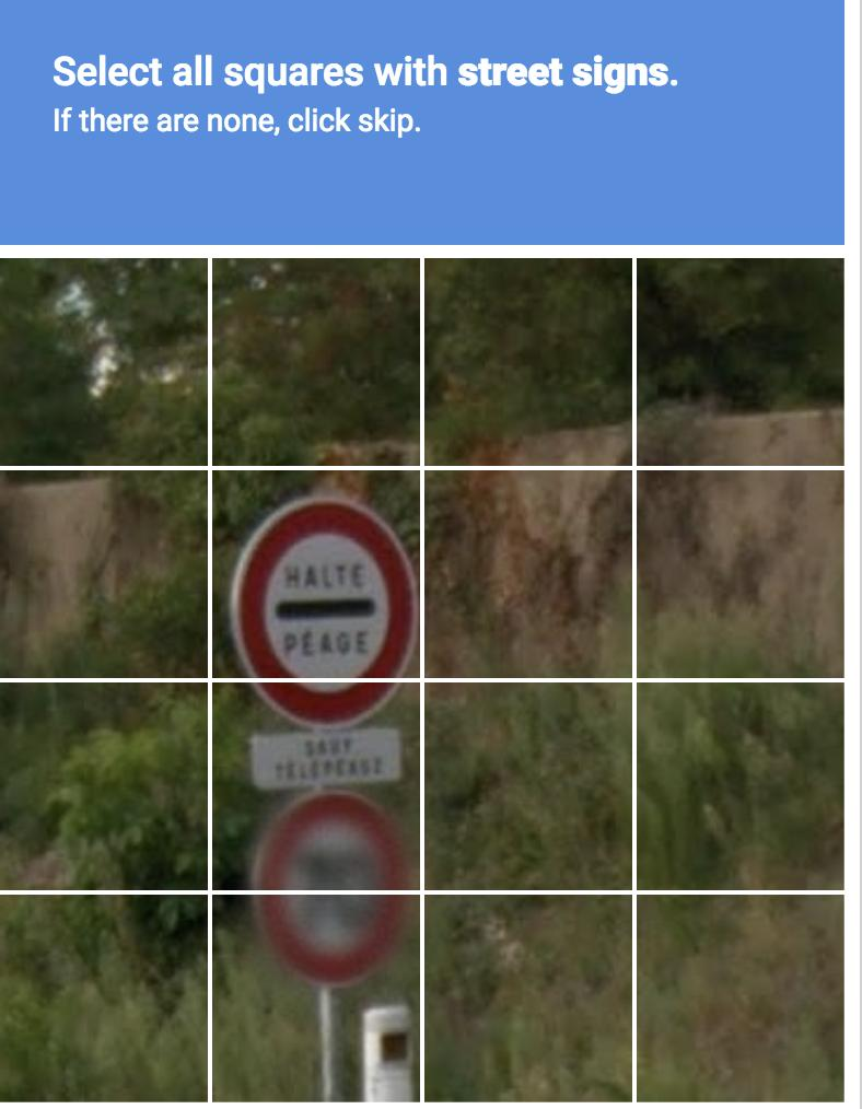 RECAPTCHA: find stree signs
