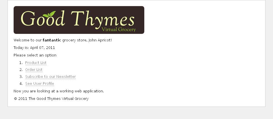 Пример домашней страницы приложения