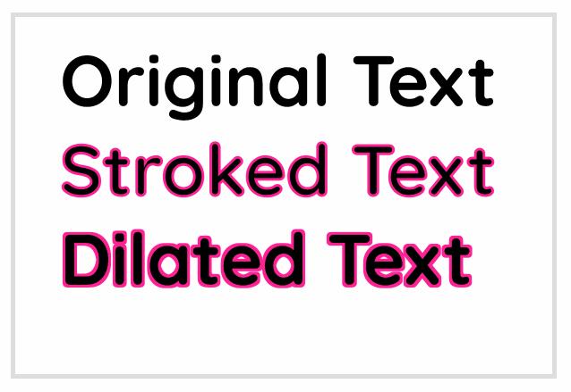 Сравнение исходного текста с текстом, имеющим обводку, и контуром, созданным при помощи **feMorphology**