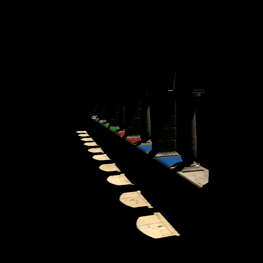Global lighting with the use of tracing voxels cones